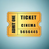 Golden cinema ticket icon isolated on blue background. Vector Illustration