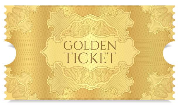 stockillustraties, clipart, cartoons en iconen met gouden film ticket sjabloon - ticket