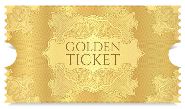 golden cinema ticket template - ticket stock illustrations