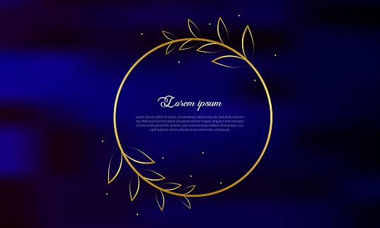 golden circle frame on blue background