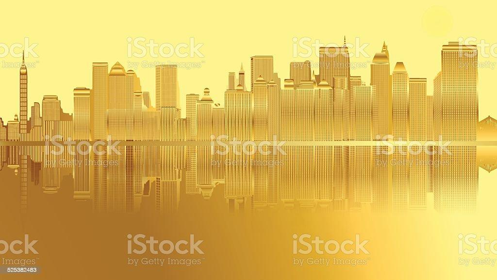 Golden city and skyscrapers in New York vector art illustration