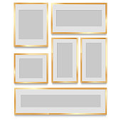 Golden classic photo frame. vintage design for your photo. vector
