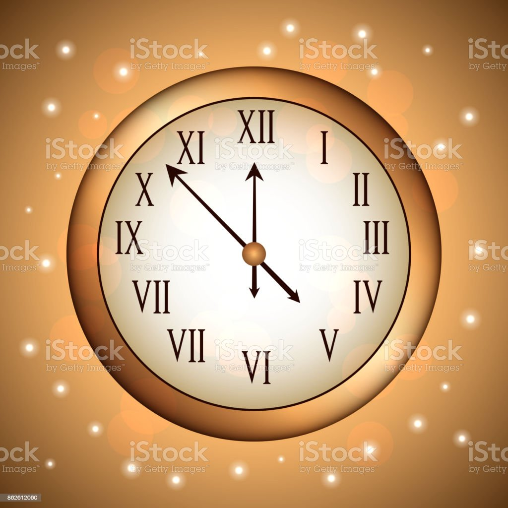 golden clock rounded with glitter sparkle gold vector art illustration
