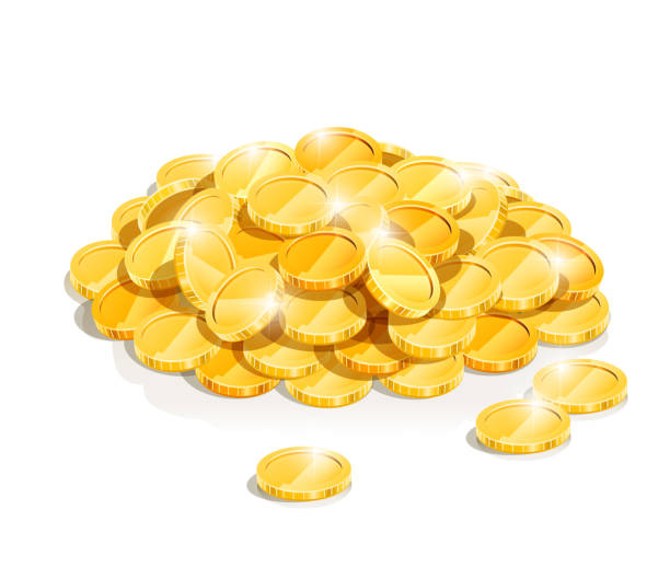 golden coin heap Golden coin heap isolated on white background . Transparent objects and opacity masks used for shadows and lights drawing. Vector illustration. antiquities stock illustrations
