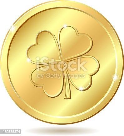 istock Golden coin with clover. 162838374