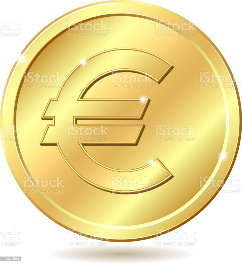 golden coin with euro sign royalty-free stock vector art
