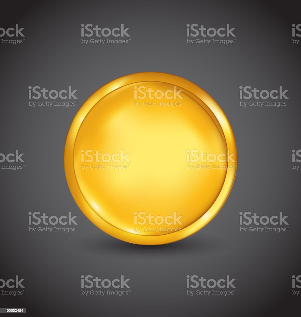 Golden coin with shadow on dark background vector art illustration