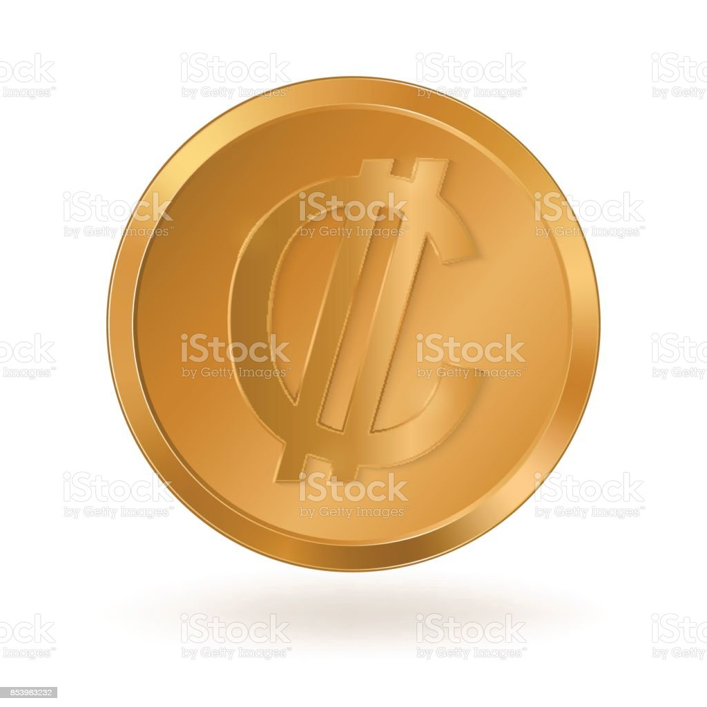 Golden Coin With Sign Costa Rican Colon Stock Vector Art More