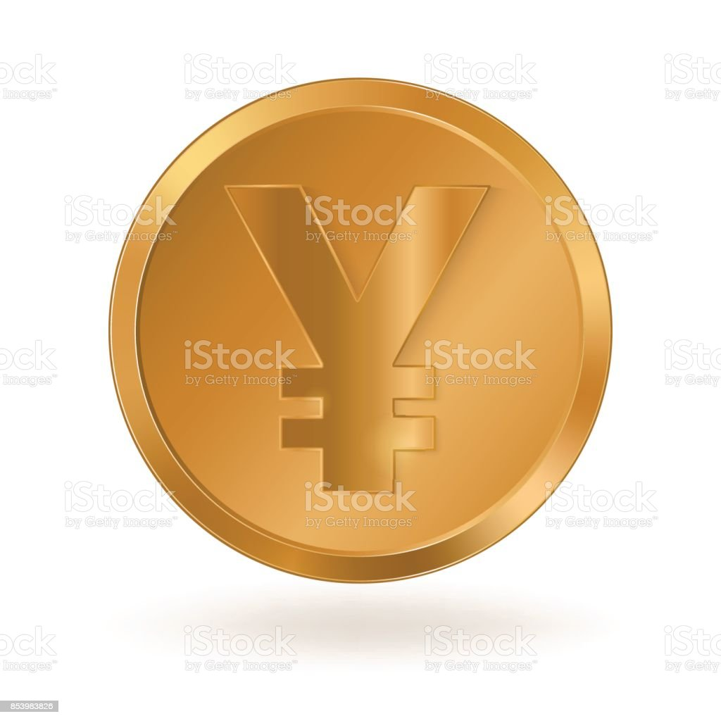 Golden coin with sign Yen vector art illustration