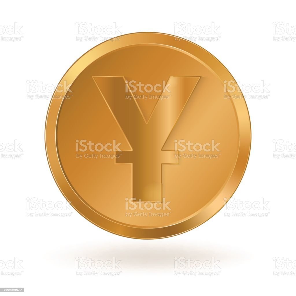 Golden coin with sign Yuan vector art illustration