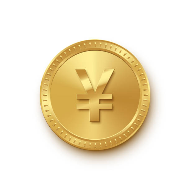 Golden coin with yuan symbol isolated on white background. Vector finance icon. Golden coin with Chinese yuan or Japanese yen symbol isolated on white background. Vector finance icon yuan symbol stock illustrations