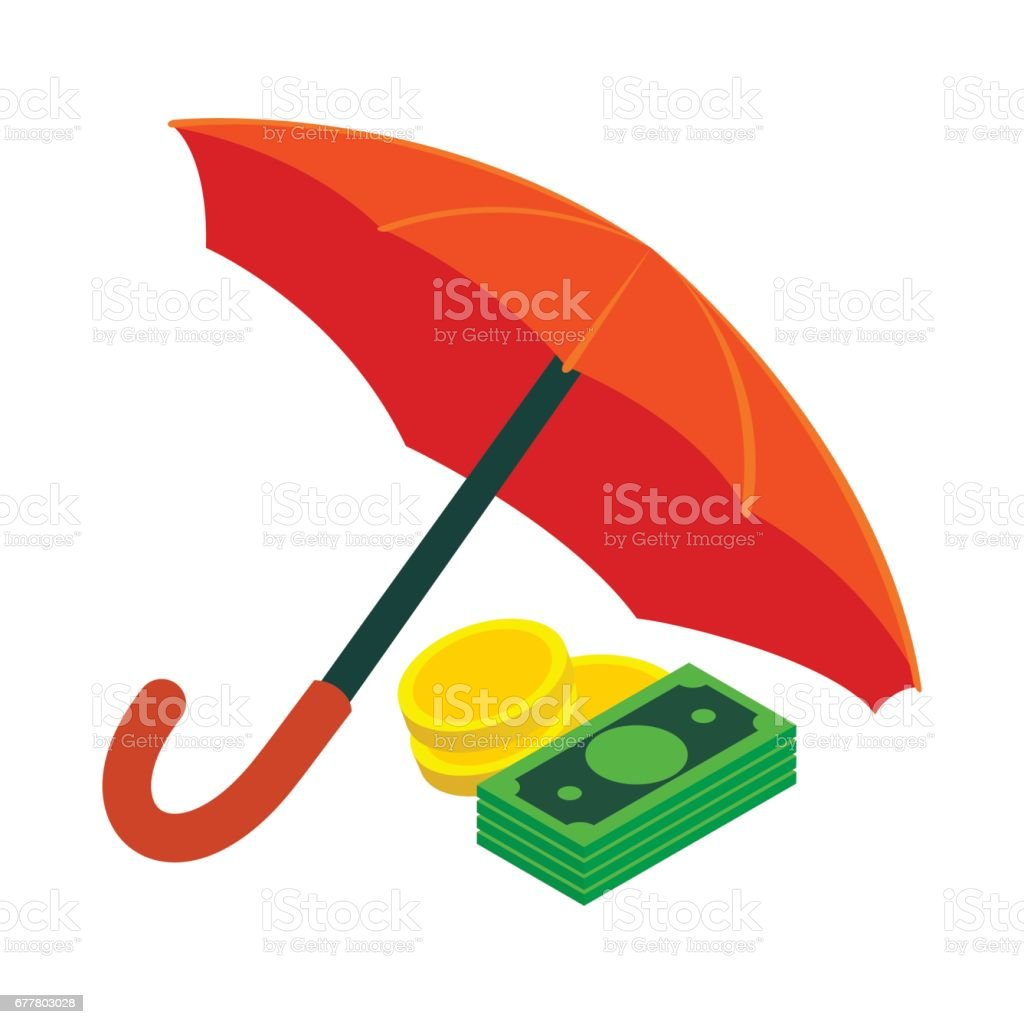 Golden coins and banknotes under umbrella icon royalty-free golden coins and banknotes under umbrella icon stock vector art & more images of banking