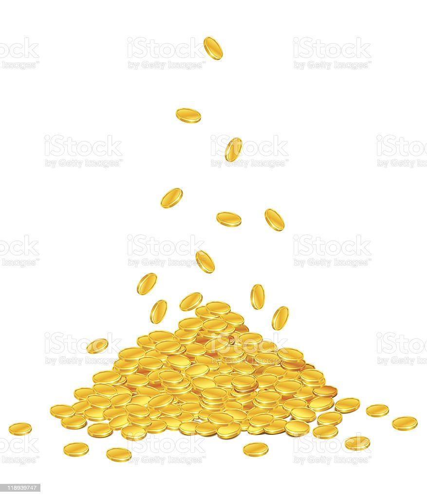 golden coins dropping down on pile of dollar packs vector art illustration