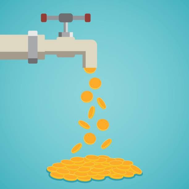 goldene münzen fallen aus dem wasserhahn. - fallrohr stock-grafiken, -clipart, -cartoons und -symbole