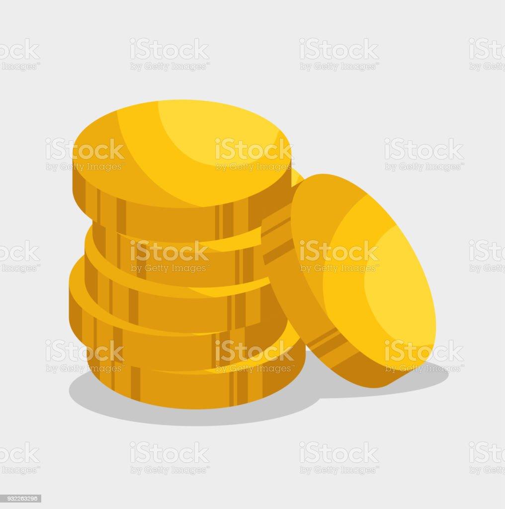 icono aislado de monedas de oro - ilustración de arte vectorial