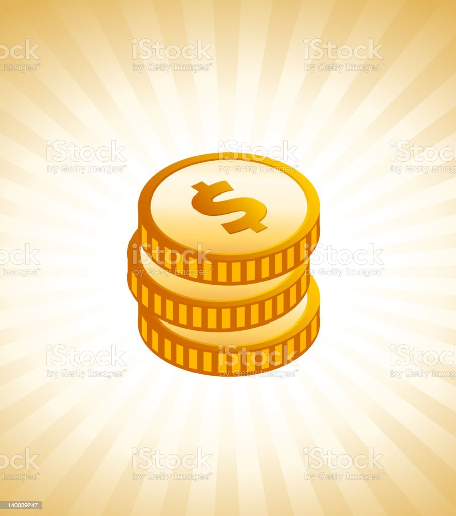 Golden coins on royalty free vector Background with glow effect royalty-free golden coins on royalty free vector background with glow effect stock vector art & more images of bringing home the bacon