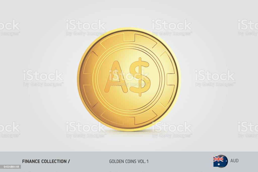 Goldene Münzen Realistische Golden Australischer Dollar Münzen Satz