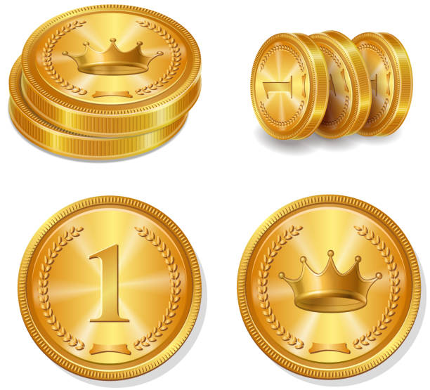 Golden coins set. Isolated vector Golden coins set. Top view and stack Isolated vector bonus march stock illustrations