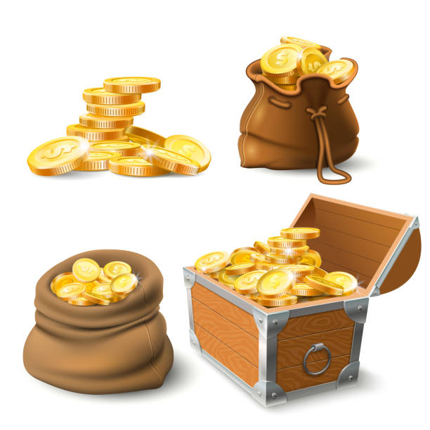 Golden coins stacks. Coin in old sack, large gold pile and chest Golden coins stacks. Coin in old sack, large gold pile and chest full of gold treasure or stacked money. Cash shiny dollar coins savings. Wealth investment realistic vector isolated icons set antiquities stock illustrations