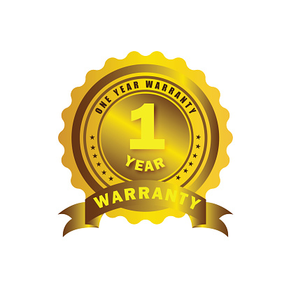 Golden color 1 year warranty badge, seal, sign, label isolated on white background