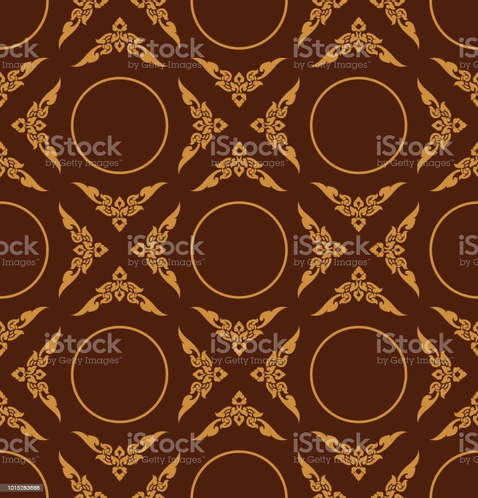 golden color of Thai patter floral seamless on red vintage background, royal vector  backdrop vector art illustration