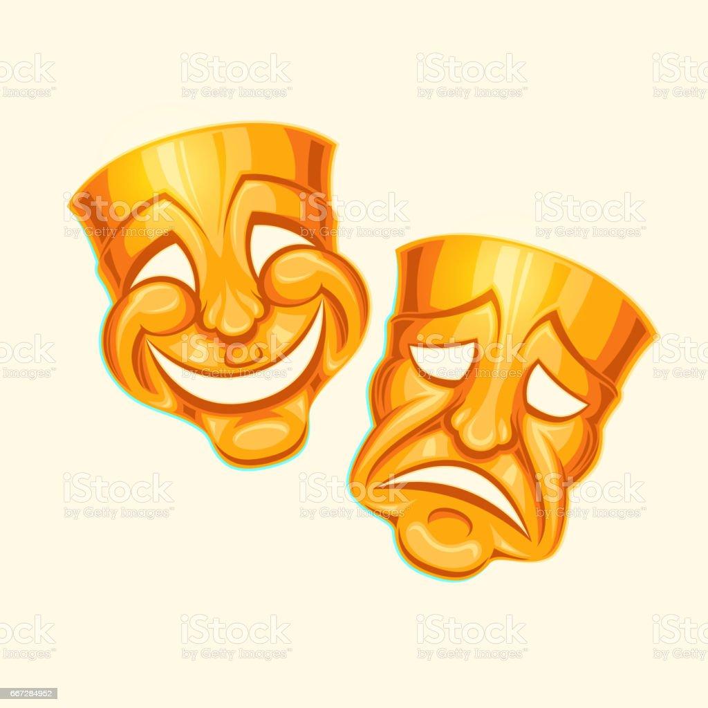 Golden comic and tragic theater mask vector art illustration