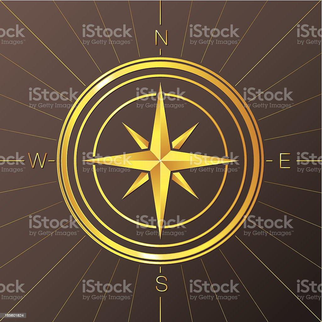 Golden Compass Rose royalty-free stock vector art