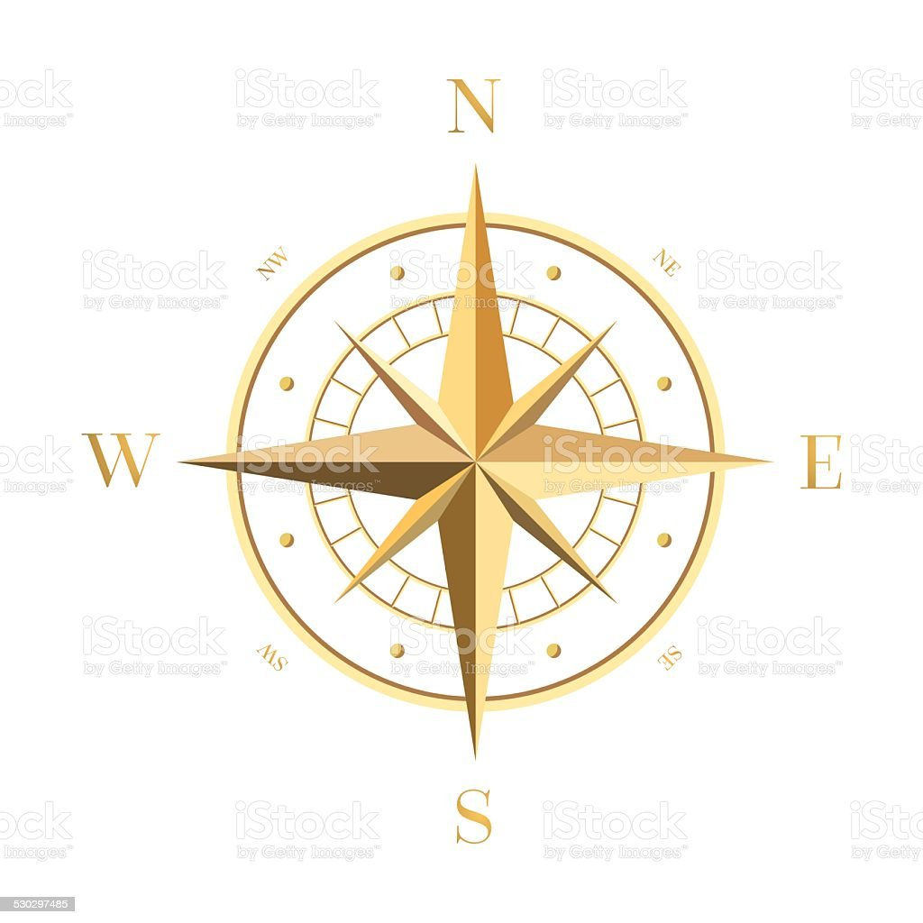 Golden Compass Rose vector art illustration