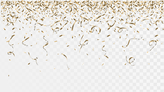 Golden confetti and ribbons on a transparent background, falling party decorations