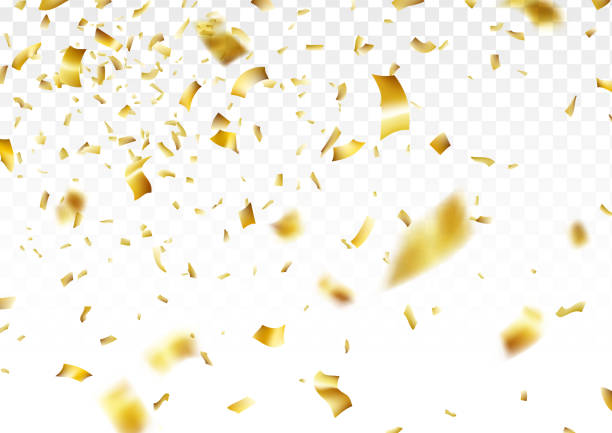 stockillustraties, clipart, cartoons en iconen met gouden confetti achtergrond - confetti