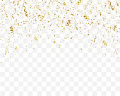 Golden confetti isolated on checkered background. Festive template. Vector illustration of falling particles for holydays design.