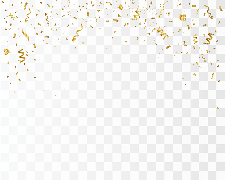 Golden confetti isolated on checkered background. Festive vector background