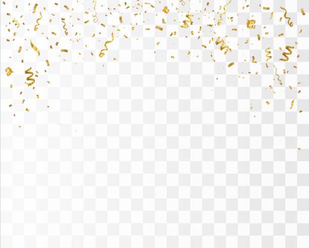stockillustraties, clipart, cartoons en iconen met gouden confetti geïsoleerd op de geruite achtergrond. feestelijke vectorillustratie - confetti