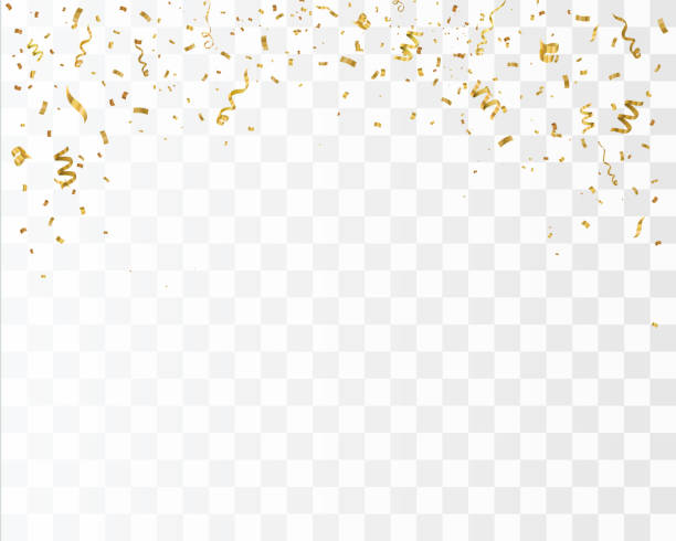 golden confetti isolated on checkered background. festive vector illustration - gold stock illustrations
