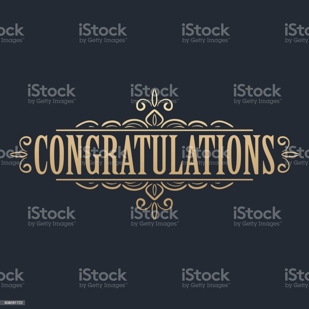 Golden congratulations card vector art illustration