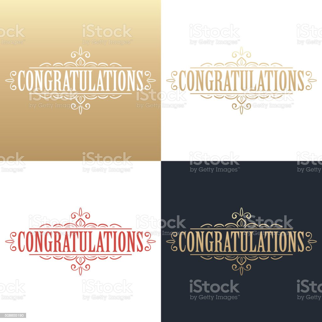 Golden congratulations card vector art illustration