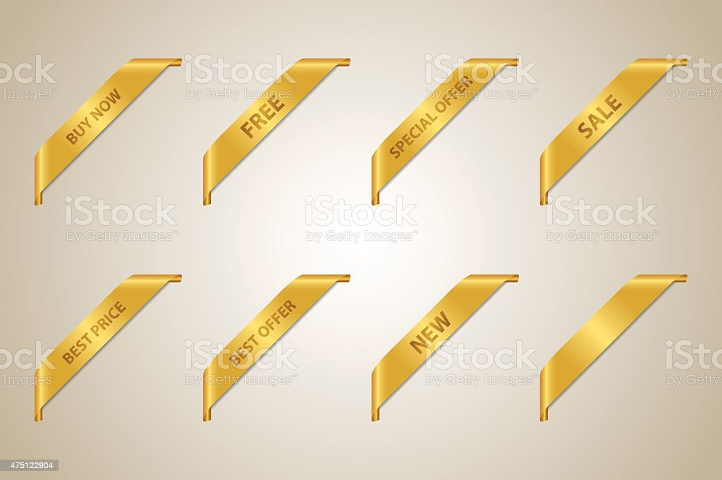 Golden Corner Ribbon Collection vector art illustration