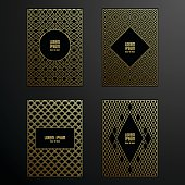 Golden covers template set in vector