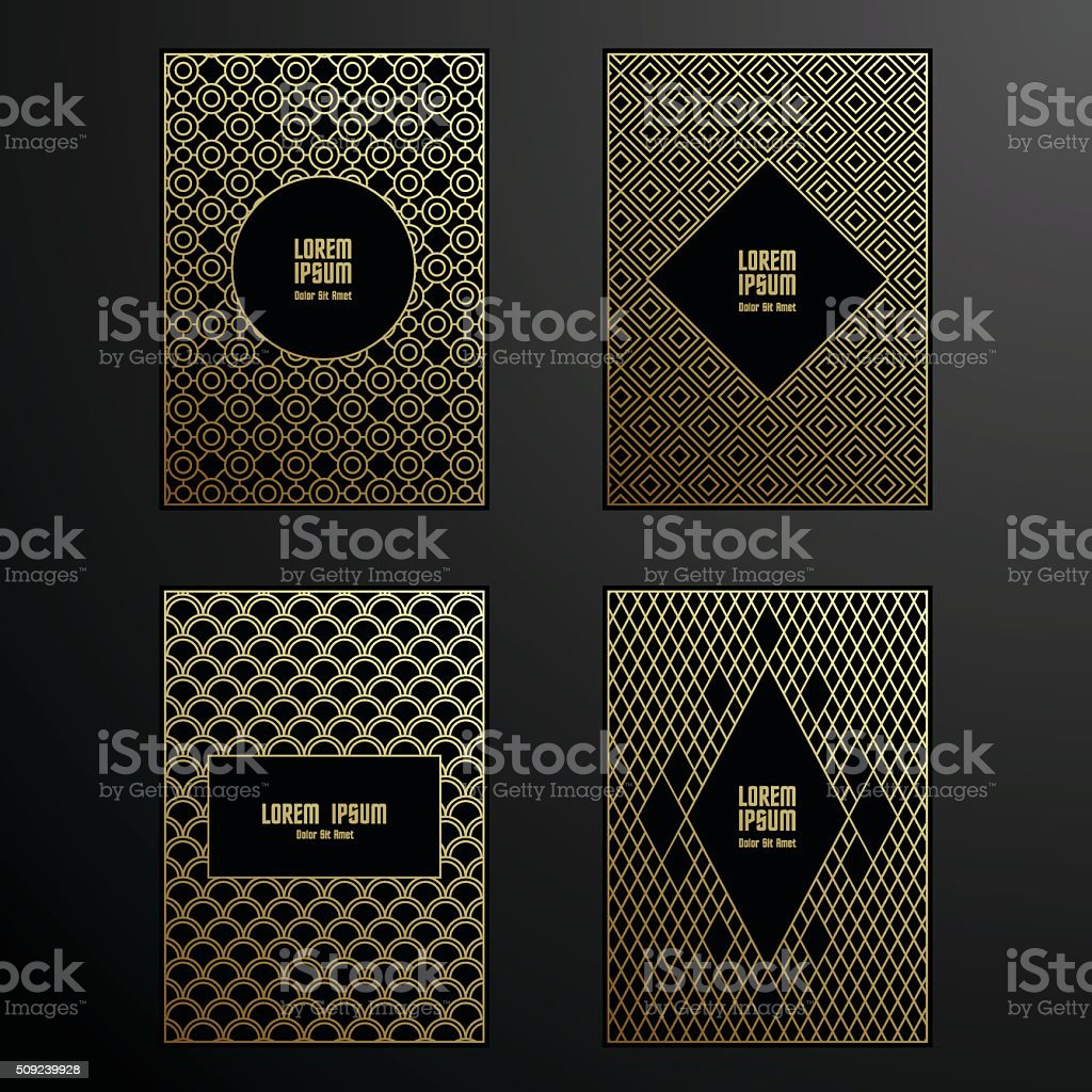Golden covers template set vector art illustration