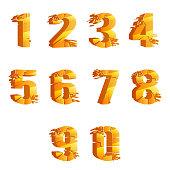 Golden cracked breaking pieces realistic numbers 3D broken design vector illustration