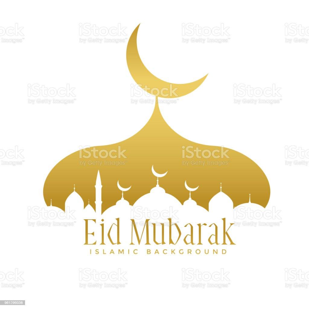 golden creative mosque design for eid mubarak festival vector art illustration