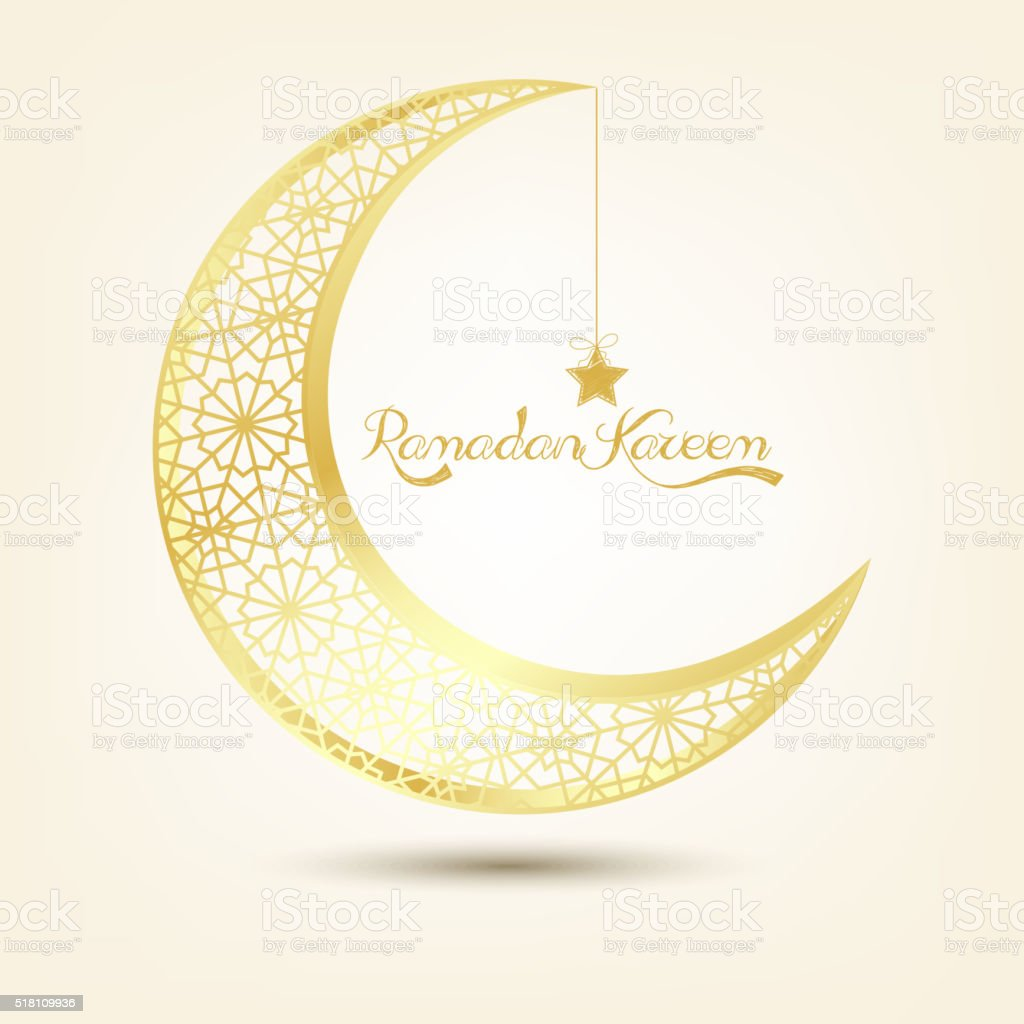 Golden crescent moon on brown background vector art illustration