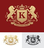 Golden crest design with rampant lions. Heraldic crest template. Luxury design concept.