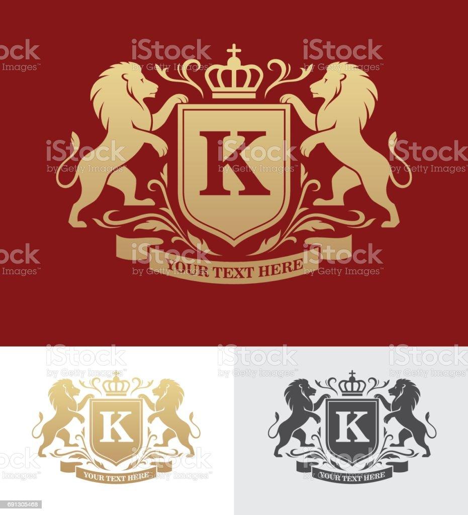 Design de crista dourada com leões rampantes - ilustração de arte em vetor