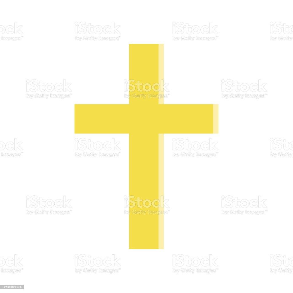 Golden Cross In Flat Style Symbol Of Roman Catholic Church Simple