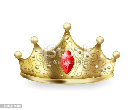 istock Golden crown. 3D realistic gold queen sign, luxury head accessory, monarch majestic jewel diadem with ruby and pearl gemstone, royal imperial coronation symbol vector object 1305945053