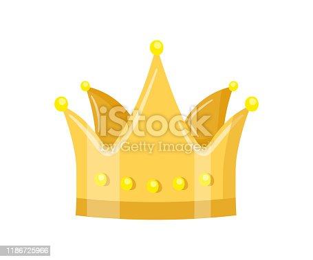 istock Golden crown flat vector illustration 1186725966