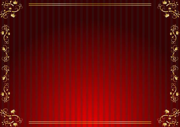 illustrazioni stock, clip art, cartoni animati e icone di tendenza di golden crown frame and striped background - sipario