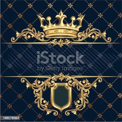 retro decorative crown & shield, layered vector artwork