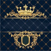 retro decorative crown & shield, layered vector artwork